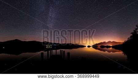 A Panoramic Nightscape From Ashness Jetty On Derwent Water In The Lake District