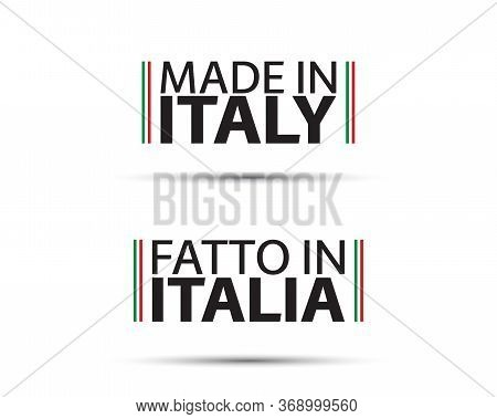 Two Simple Vector Symbols Made In Italy. In The Italian Language Fatto In Italia. Simple Vector Symb