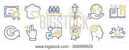 Set Of Business Icons, Such As Positive Feedback, Touchscreen Gesture. Certificate, Save Planet. Rec