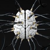 3D illustration of cables connected to brain. Mind control concept poster