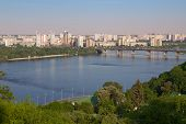 View of Paton Bridge and Left Bank of the Dnieper river in Kyiv Ukraine poster