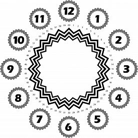 Clock Dial Black Numbers Hourly On Black Black Stelar Forms And Black Seconds On Transparent Backgro