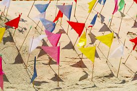 Flags On Sand Pagoda Was Carefully Built, And Beautifully Decorated In Songkran Festival
