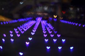 Purple Bokeh And Blur Heart Shape Love Valentine Colorful Night Light
