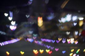 Yellow Orange Bokeh And Blur Heart Shape Love Valentine Day Colorful Night Light
