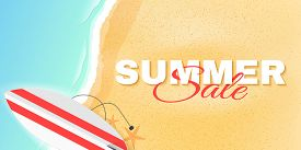 Summer Sale Poster With Lettering. Beach And Sea. Greeting Card. Special Offer Template. Vector Illu