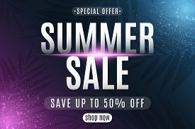 Summer Sale Poster. Greeting Card. Lettering On Dark Background With Neon Glowing Particles. Special
