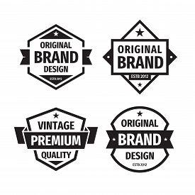 Design Graphic Badge Logo Vector Set In Retro Vintage Style. Original Brand Design, Vintage Premium