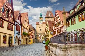 Rothenburg ob der Tauber famous street view. Traditional Bavarian houses in Germany.