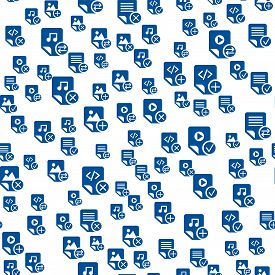 Media Files Icon Outlines Seamless Pattern Design