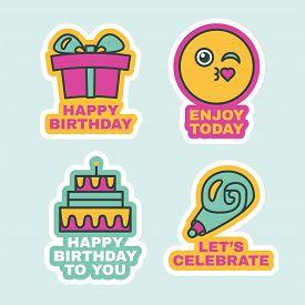 Birthday Labels Set, Cute Greeting Stickers Flat