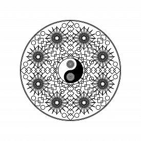 Yin Yang Symbol In Eastern Geometric Pattern