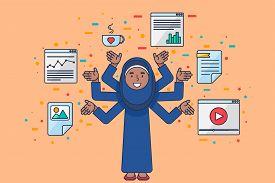 Programmer At Work Arab Female Seo Specialist Coding