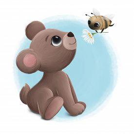Bear Cub Looks At The Little Bee. Digital Illustration