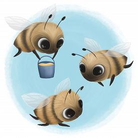 Cute Little Bees Collect Sweet Honey. Digital Illustration
