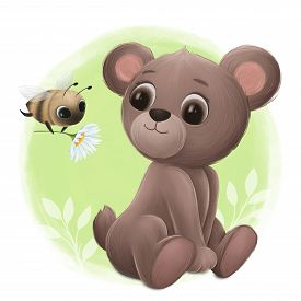Little Bee Gives A Flower To A Cute Little Bear. Digital Illustration