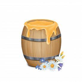 Wooden Barrel With Honey On A White Background. Digital Illustrator