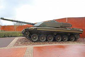 Vintage Military Tank Standing Guard On Display