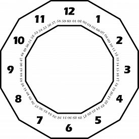 Clock Dial Black Numbers Hourly In Black Honeicomb Frame And Seconds On Transparent Background With