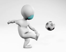 Fatty Man With A Mask Playing Soccer Football 3d Rendering Isolated On White