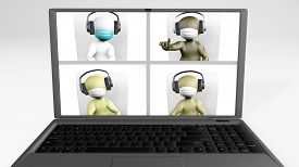 Video Call Diverse Team With Masks 3d Rendering Isolated On White