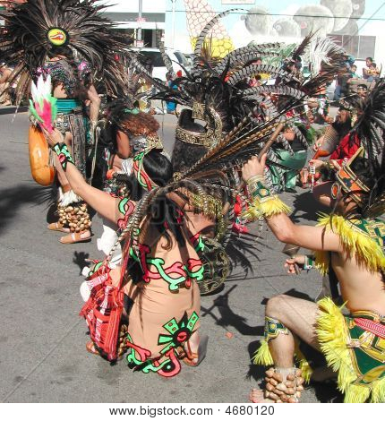 Aztec Dancers In Ceremony