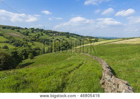 Picturesque Rural Farmland In West Yorkshire Landscape Taken At Scammonden