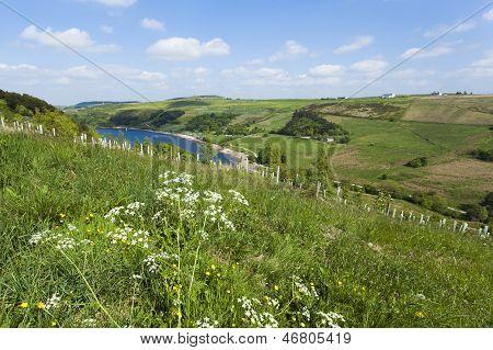 Overlooking Scammonden Dam In The Rugged Rural Yorkshire Moorland