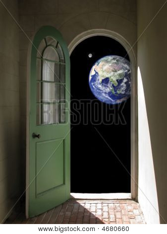 Earth And Moon Through Arched Doorway