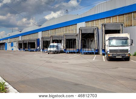 Loading And Unloading Area Of Warehouse, Row Of  Loading Docks
