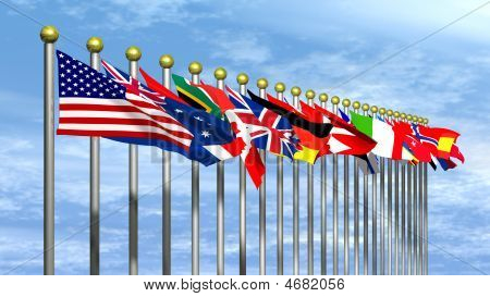 World Flags With Blue Sky