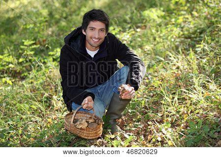Young man picking wild mushrooms
