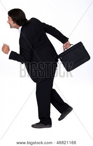 businessman in a hurry