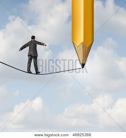 Risk planning and leadership solutions with a businessman walking on a dangerous tight rope with a pencil drawing the future path with the road ahead as a business concept of adapting to change for success. poster
