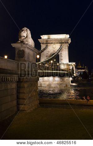 Budapest Chain Bridge At Night