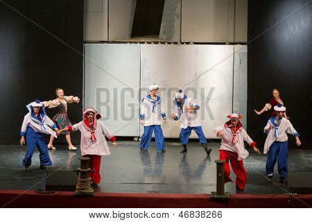 MOSCOW - OCT 18: A scene with sailors at open rehearsal of the musical Treasure Island in the Concert Hall Izmailovo on October 18, 2012 in Moscow, Russia.