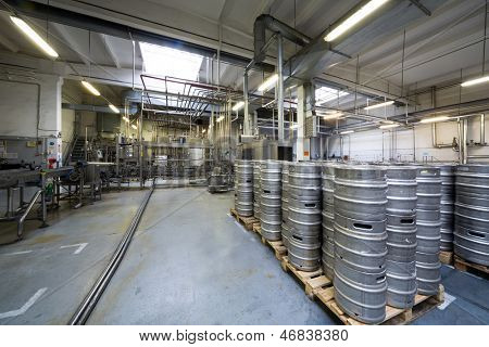 MOSCOW - OCT 16: Lots of kegs and pipes in the shop of brewery Ochakovo on October 16, 2012 in Moscow, Russia. Ochakovo is largest Russian company beer and soft drinks industry without foreign capital