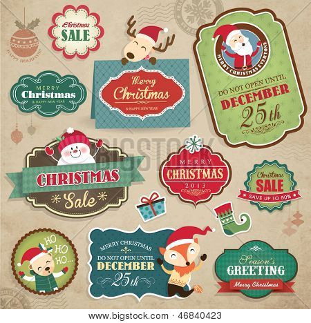 Christmas stickers, gift tags & sale icon