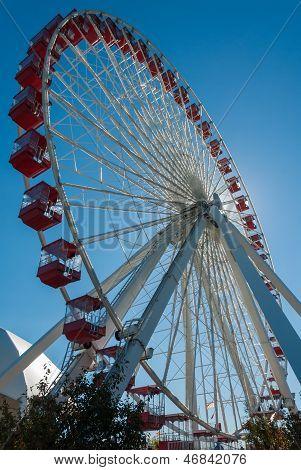 Ferris Wheel At The Navy Pier In Chicago