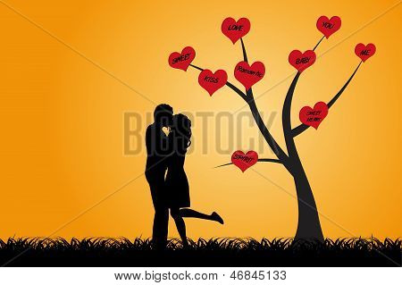 Kissing Couple Under The Tree