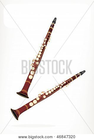 A Musical Clarinet With A White Banner