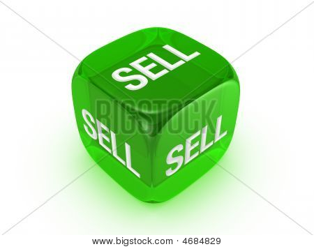 Translucent Green Dice With Sell Sign