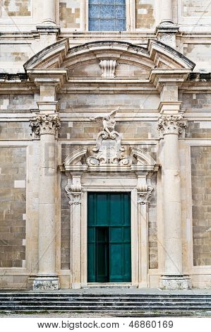 Front view of entrance at Saint Ignatius Church in Dubrovnik