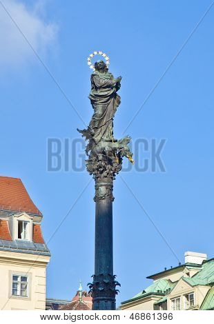 marian column in vienna am Hof under blue sky poster