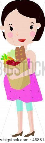 Pregnant with supermarket bag
