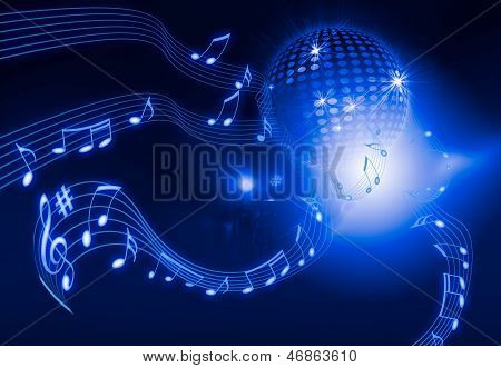 Disco Ball On Blue Background