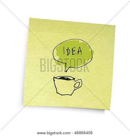 "Yellow sticky notes with coffee cup ""idea"" illustration. Raster version, vector file available in portfolio."
