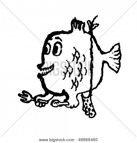 Piranha. Doodle illustration. Raster version, vector file available in portfolio.