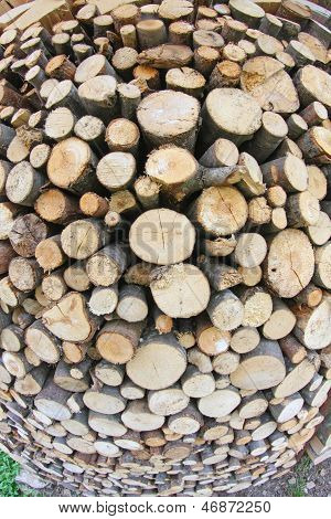 Woodshed With Logs Cut And Perfectly Aligned For Heating During Winter