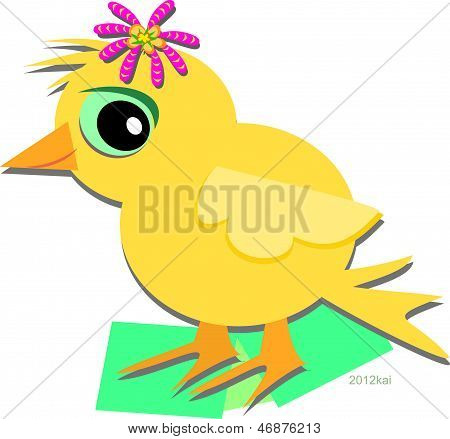 Cute Chick with a Flower